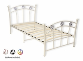 Full White Complete Youth Metal Bed