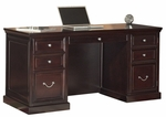 kathy ireland Home™ Fulton Collection 61''W x 30''H Space Saver Double Pedestal Desk -Espresso [FL660-FS-KIMF]