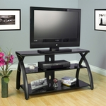 Futura Black Tempered Glass and Steel 42''W x 22.5''H TV Stand - Black [50601-FS-SDI]