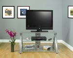 Futura Clear Tempered Glass and Steel 42''W x 22.5''H TV Stand - Silver [50600-FS-SDI]