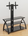 Futura Black Tempered Glass and Steel 42''W x 52.5''H TV Stand with Flat Screen Mounting Tower [50603-FS-SDI]
