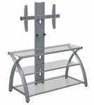 Futura Clear Tempered Glass and Steel 42''W x 52.5''H TV Stand with Flat Screen Mounting Tower [50602-FS-SDI]