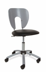 Futura Height Adjustable Office Chair with Chrome 5 Star Metal Base and Casters - Silver and Black [10052-FS-SDI]