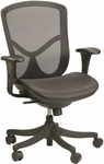 Fuzion Basic 26'' W x 27.5'' D x 40'' H Adjustable Height Mid Back Task Chair - Black Mesh with Black Base [FUZ5B-LO-W09-1-FS-EURO]