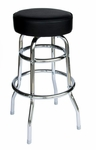 Galena Double Ring Chrome Stool - Black Vinyl Seat [RBRF-BLV-BFMS]