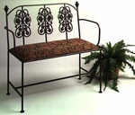 Rose Garden 40''W Wrought Iron Loveseat Bench with Arms and Upholstered Seat [GMC-LS10ARM-3-FS-GCM]