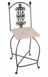 Rose Garden 24''H Wrought Iron Swivel Barstool with Upholstered Seat [GMC-SW124-3A-FS-GCM]