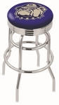 Georgetown University 25'' Chrome Finish Double Ring Swivel Backless Counter Height Stool with Ribbed Accent Ring [L7C3C25GRGTWN-FS-HOB]