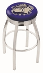 Georgetown University 25'' Chrome Finish Swivel Backless Counter Height Stool with 2.5'' Ribbed Accent Ring [L8C3C25GRGTWN-FS-HOB]