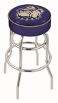 Georgetown University 25'' Chrome Finish Double Ring Swivel Backless Counter Height Stool with 4'' Thick Seat [L7C125GRGTWN-FS-HOB]
