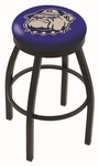 Georgetown University 25'' Black Wrinkle Finish Swivel Backless Counter Height Stool with Accent Ring [L8B2B25GRGTWN-FS-HOB]