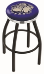 Georgetown University 25'' Black Wrinkle Finish Swivel Backless Counter Height Stool with Chrome Accent Ring [L8B2C25GRGTWN-FS-HOB]