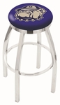 Georgetown University 25'' Chrome Finish Swivel Backless Counter Height Stool with Accent Ring [L8C2C25GRGTWN-FS-HOB]