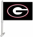 Georgia Bulldogs Black Car Flag with Wall Brackett - Logo Design [97307-FS-BSI]