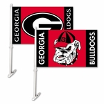 Georgia Bulldogs Car Flag with Wall Brackett - Mascot/Logo Design [97207-FS-BSI]