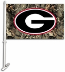 Georgia Bulldogs Car Flag with Wall Brackett - Realtree Camo Background [97607-FS-BSI]