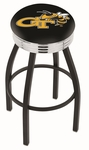 Georgia Institute of Technology 25'' Black Wrinkle Finish Swivel Backless Counter Height Stool with Ribbed Accent Ring [L8B3C25GATECH-FS-HOB]