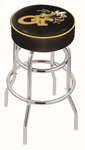 Georgia Institute of Technology 25'' Chrome Finish Double Ring Swivel Backless Counter Height Stool with 4'' Thick Seat [L7C125GATECH-FS-HOB]
