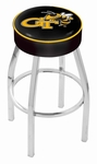 Georgia Institute of Technology 25'' Chrome Finish Swivel Backless Counter Height Stool with 4'' Thick Seat [L8C125GATECH-FS-HOB]