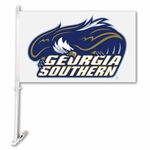 Georgia Southern Eagles White Car Flag with Wall Brackett [97037-FS-BSI]