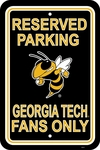Georgia Tech Yellow Jackets 12'' X 18'' Plastic Parking Sign [50220-FS-BSI]