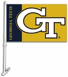 Georgia Tech Yellow Jackets Car Flag with Wall Brackett [97049-FS-BSI]