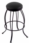 Georgian 25'' Black Wrinkle Finish Swivel Counter Height Stool with Black Vinyl Seat [300025BWBLKVINYL-FS-HOB]