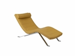 Gilda Contemporary Leatherette Lounge Chair with Adjustable Matching Pillow - Saffron and Silver [02304SFR-02304A-FS-ERS]