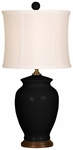 Splash Ceramic Ginger Jar 18''H Table Lamp with White Sewn Silk Shade - Black [10T232BK-FS-PAS]
