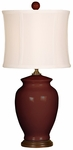 Splash Ceramic Ginger Jar 18''H Table Lamp with White Sewn Silk Shade - Burgundy [10T232BU-FS-PAS]