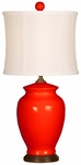 Splash Ceramic Ginger Jar 18''H Table Lamp with White Sewn Silk Shade - Coral [10T232CO-FS-PAS]