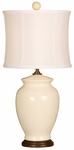Splash Ceramic Ginger Jar 18''H Table Lamp with White Sewn Silk Shade - Crackle [10T232CK-FS-PAS]