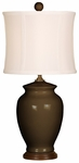 Splash Ceramic Ginger Jar 18''H Table Lamp with White Sewn Silk Shade - Espresso [10T232ES-FS-PAS]