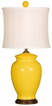 Splash Ceramic Ginger Jar 18''H Table Lamp with White Sewn Silk Shade - Mimosa [10T232MM-FS-PAS]