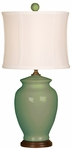 Splash Ceramic Ginger Jar 18''H Table Lamp with White Sewn Silk Shade - Moss [10T232MS-FS-PAS]