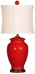 Splash Ceramic Ginger Jar 18''H Table Lamp with White Sewn Silk Shade - Red [10T232RD-FS-PAS]