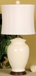 Splash Ceramic Ginger Jar 18''H Table Lamp with White Sewn Silk Shade - White [10T232VA-FS-PAS]