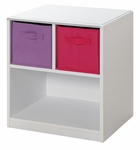 Girl's 2-Bin Storage Nightstand - White [12415-FS-DCON]