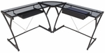29''H Steel Frame Corner Computer Desk with Tempered Glass Top - Black [HCLG6060-FS-REG]