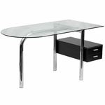 Glass Computer Desk with Two Drawer Pedestal [NAN-JN-2118-GG]