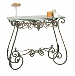 Perugia Bronze Oiled Rubbed Metal Leaf 15''W x 29''H Console Table with Glass Top [2564BR-FS-PAS]