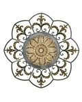 Antiqued Faux Ivory Metal Medallion 28.5''H Wall Art Decor - Gold [2421-FS-PAS]