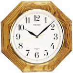 Gold Tone Solid Oak Wall Clock [QXA102BC-FS-SEI]