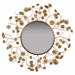 Aged Gold Metal Frame and Flower Design 32''H Wall Mirror [2630-FS-PAS]