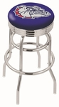 Gonzaga University 25'' Chrome Finish Double Ring Swivel Backless Counter Height Stool with Ribbed Accent Ring [L7C3C25GONZGA-FS-HOB]
