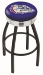 Gonzaga University 25'' Black Wrinkle Finish Swivel Backless Counter Height Stool with Ribbed Accent Ring [L8B3C25GONZGA-FS-HOB]