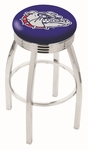 Gonzaga University 25'' Chrome Finish Swivel Backless Counter Height Stool with 2.5'' Ribbed Accent Ring [L8C3C25GONZGA-FS-HOB]