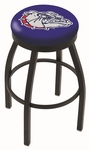 Gonzaga University 25'' Black Wrinkle Finish Swivel Backless Counter Height Stool with Accent Ring [L8B2B25GONZGA-FS-HOB]