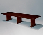 Governors 12' Rectangular Conference Table with Slab Bases - Engraved Executive Mahogany [7350-99-FS-DMI]