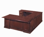 Governors72'' W Left Executive U Desk - Engraved Executive Mahogany [7350-58-FS-DMI]